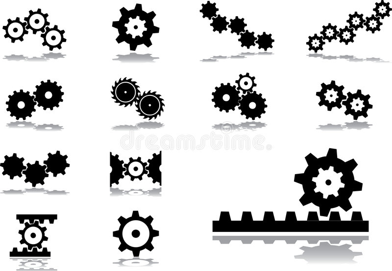 Set icons - 51. Gears stock illustration