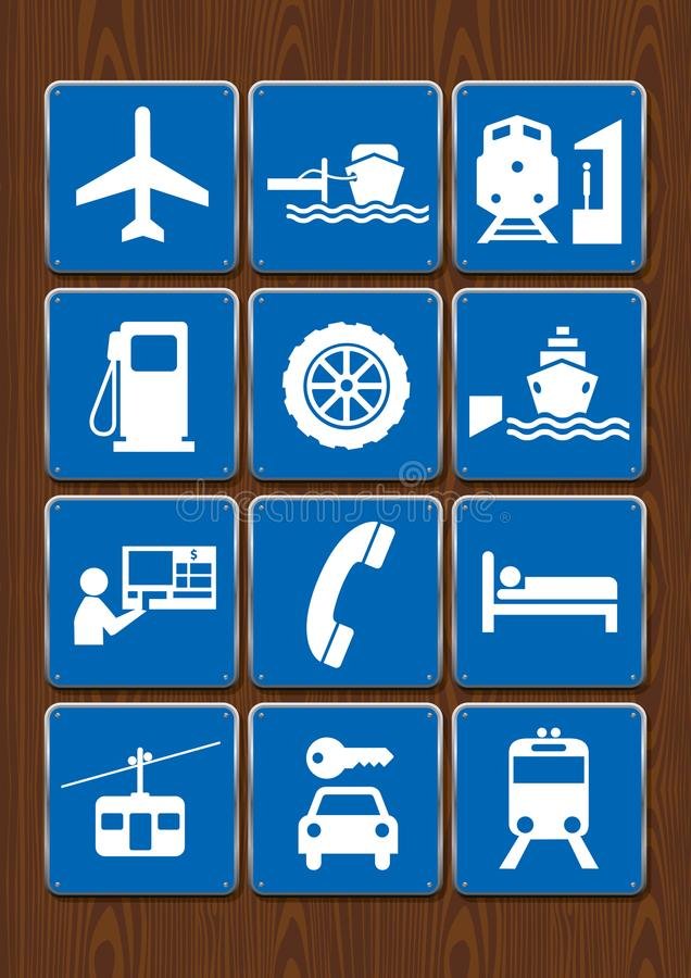 Set icons of airport, gas station, port, train station, cable car, mechanics. Icons in blue color on wooden background stock illustration