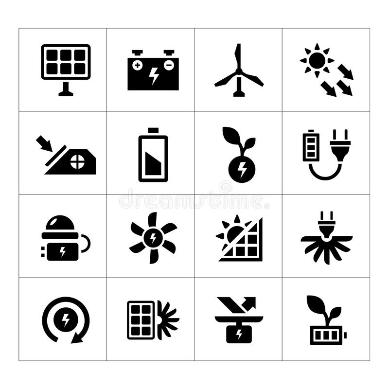 Set icons of alternative energy sources. Isolated on white vector illustration