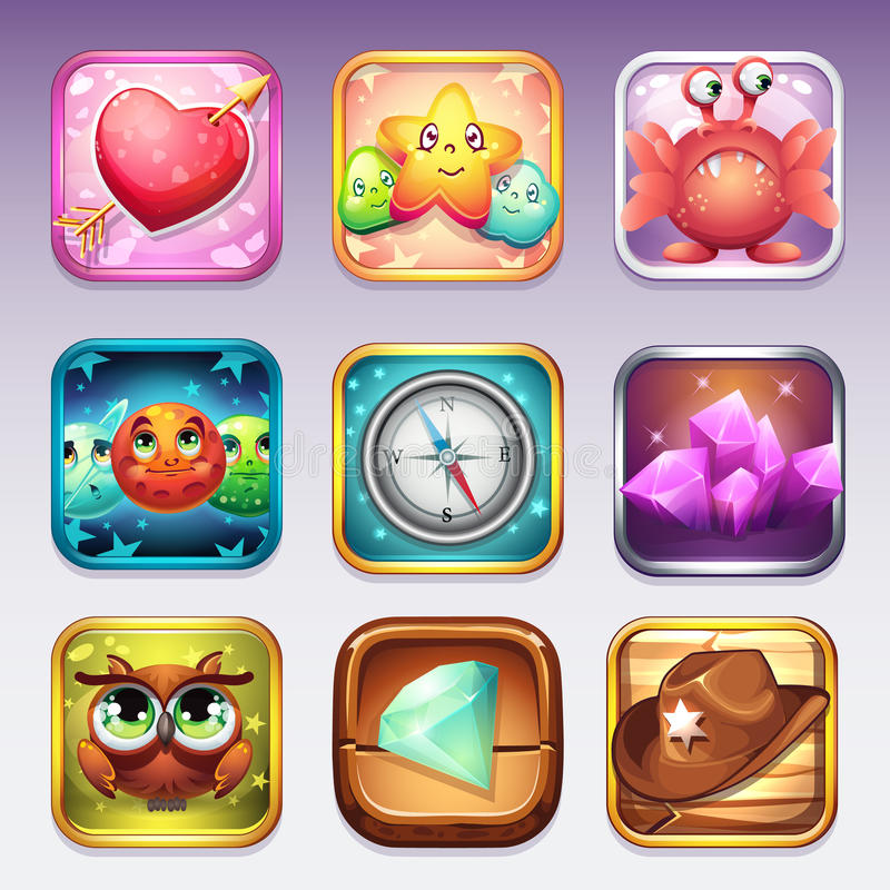Set icons for app store and Google Play to computer games on various topics.  vector illustration