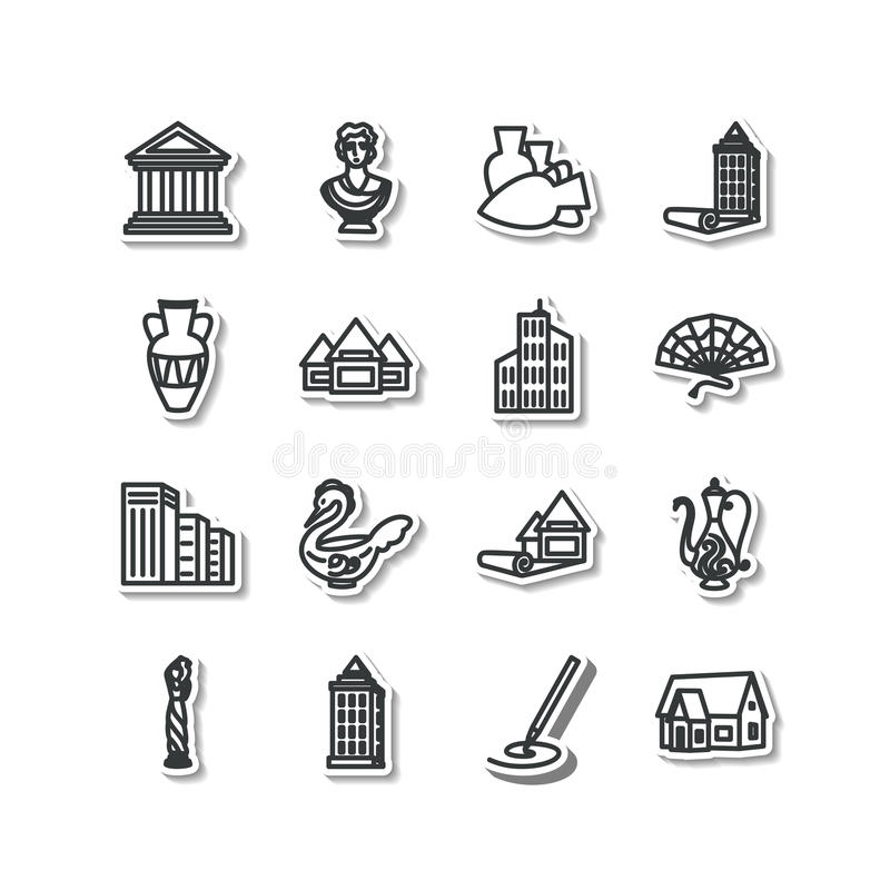 Set of icons - architecture, sculpture, decorative arts royalty free illustration