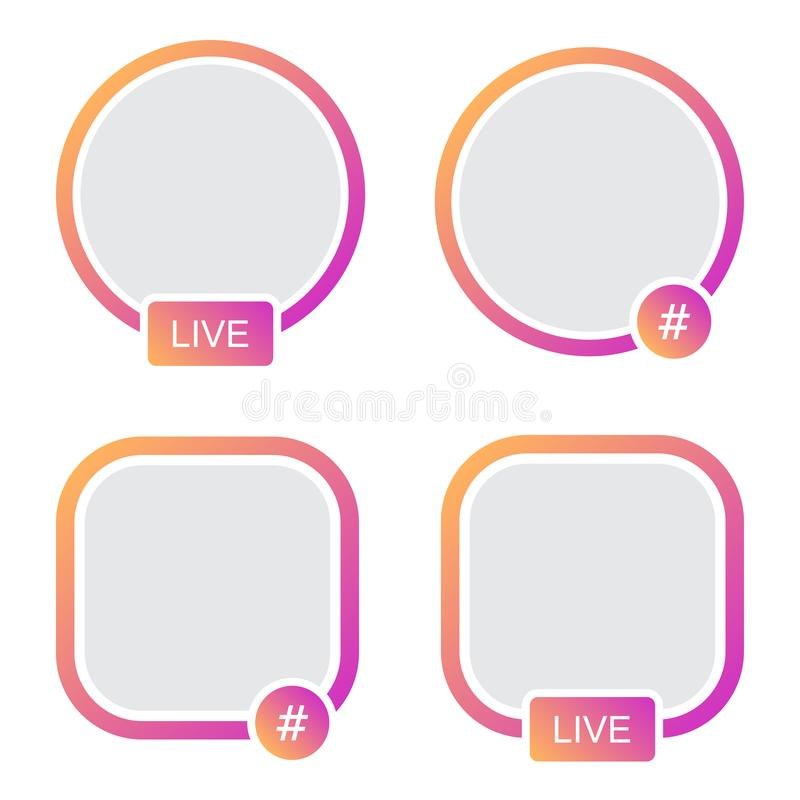 Set of icons avatar frame. Hashtag live stories video streaming.  royalty free illustration