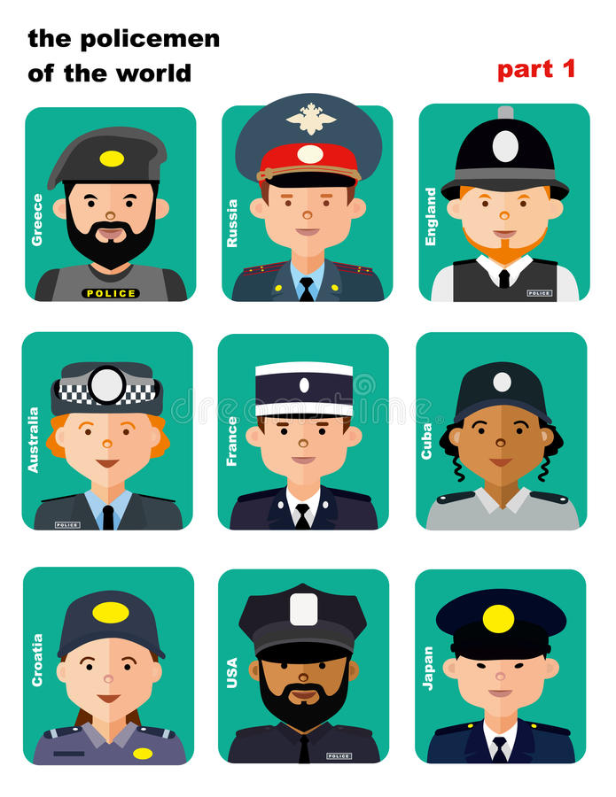Set of icons avatars the police officers royalty free illustration