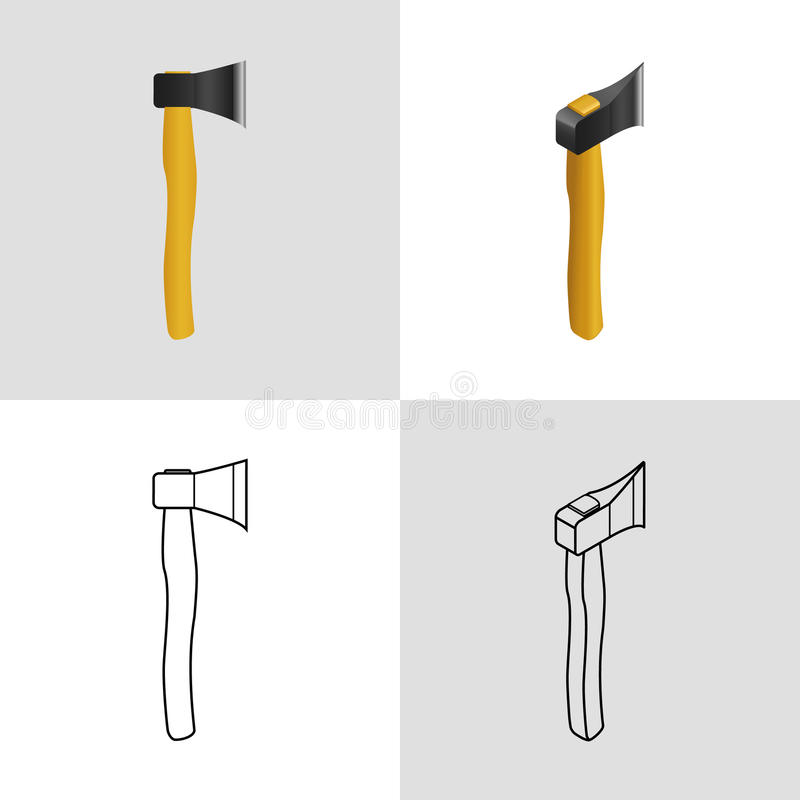 Set of icons axe stock illustration