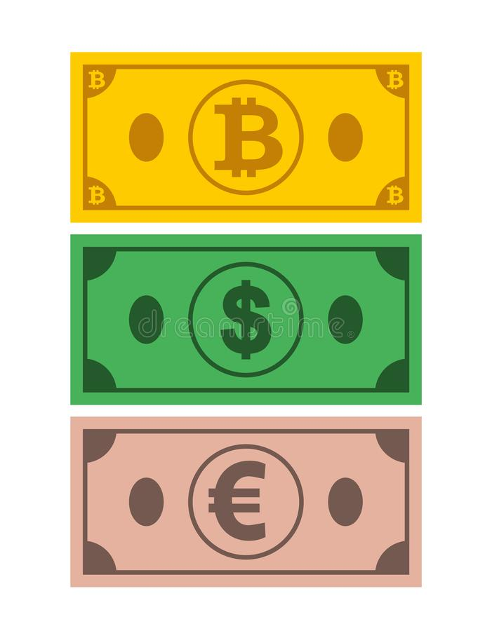 A set of icons of Bank notes bitcoin, dollar, euro on the isolated white background.Symbols of currencies in flat style. Vector illustration royalty free illustration