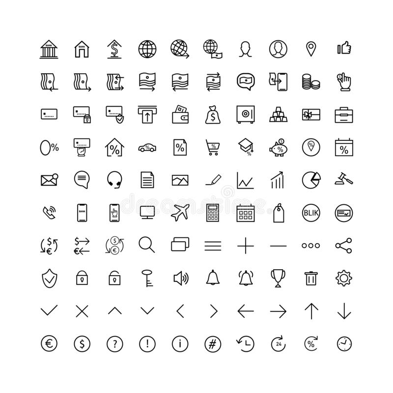 Set icons bank. Thin line.Outline. stock illustration