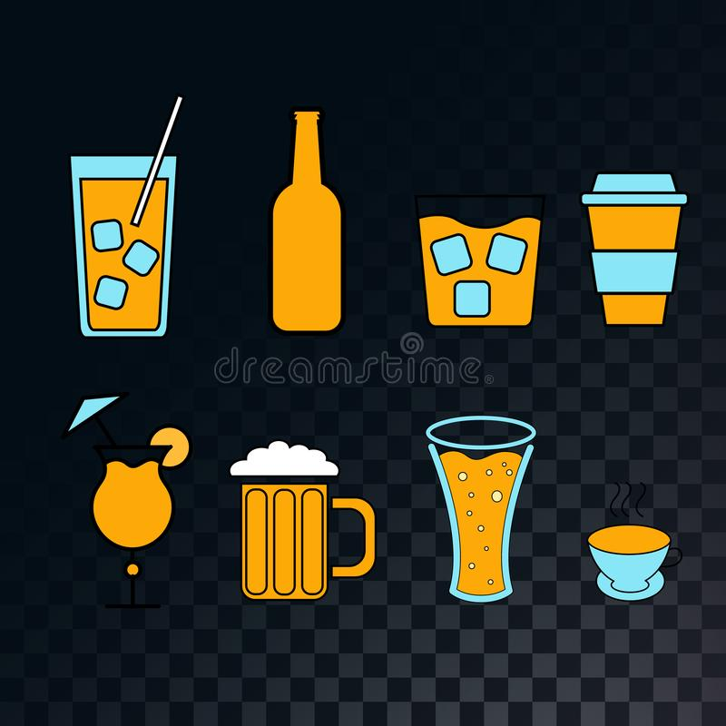 Set of icons for a bar of cocktails, beer, glasses, coffee, tea, mugs, bottles of whiskey on a translucent dark and checkered royalty free illustration