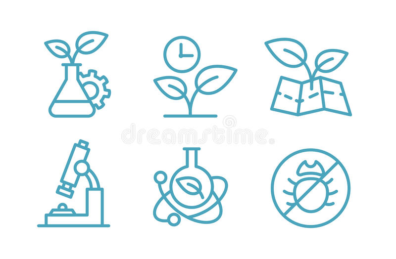 A set of icons biotechnology. Biology chemistry plants and flasks. Agriculture and agronomist. royalty free illustration