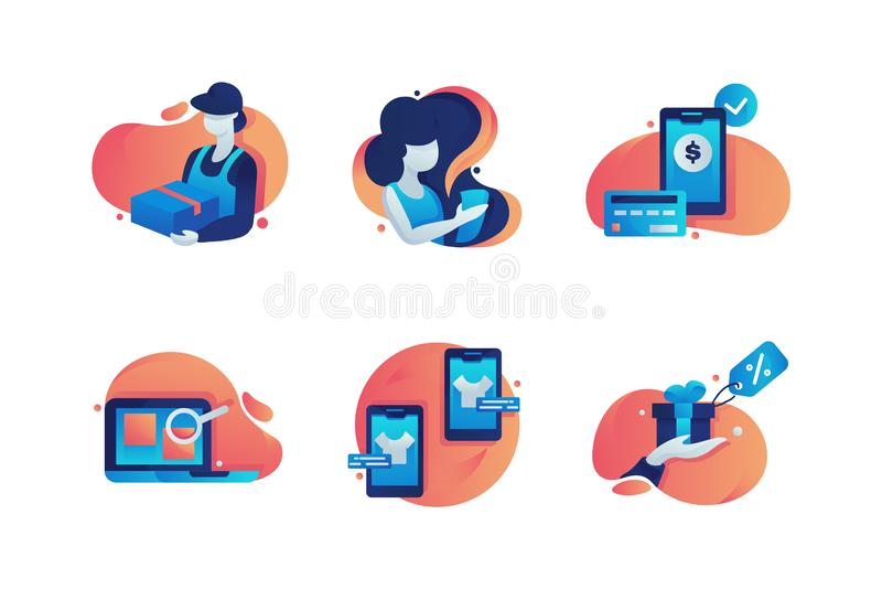 Set icons with box delivery, woman, mobile shopping, laptop with internet search, gift box. stock illustration