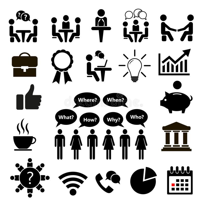 Set of icons for business. Icon Conference. Vector illustration. Set of icons for business. Icon Conference. Human resources and management icons set. Vector vector illustration