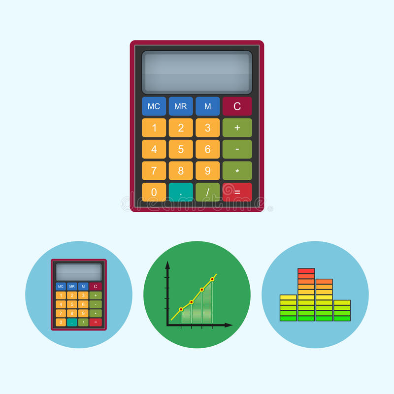 Set icons with calculator indicator diagram infographics chart download set icons with calculator indicator diagram infographics chart vector illustration ccuart Images