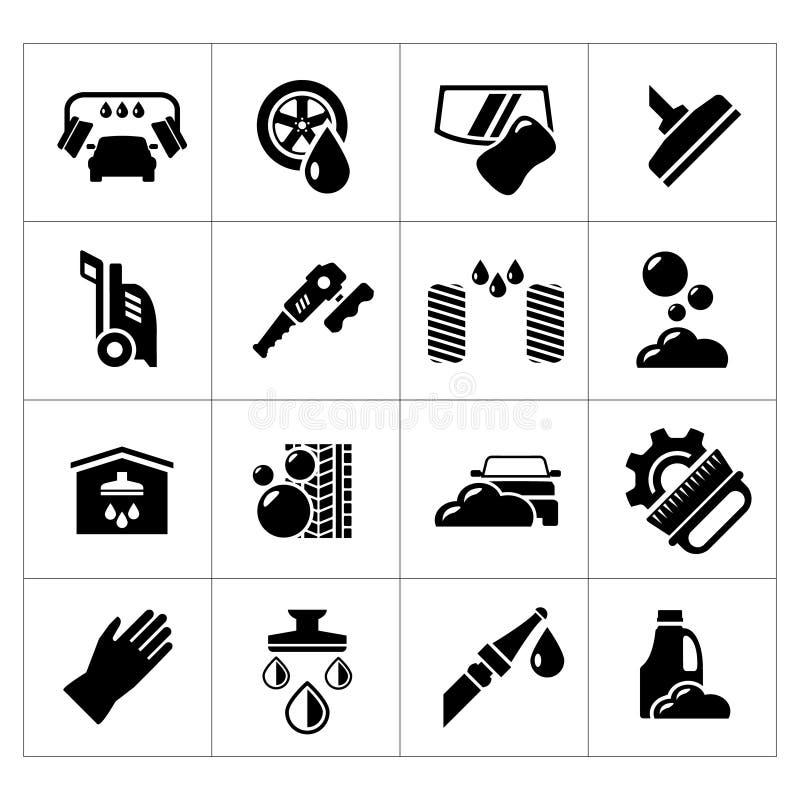Set icons of car wash vector illustration