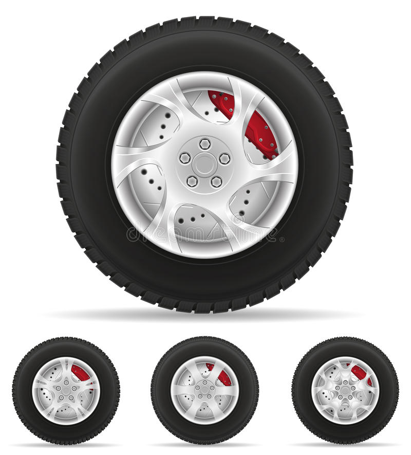 Set icons car wheel tire from the disk vector illustration vector illustration