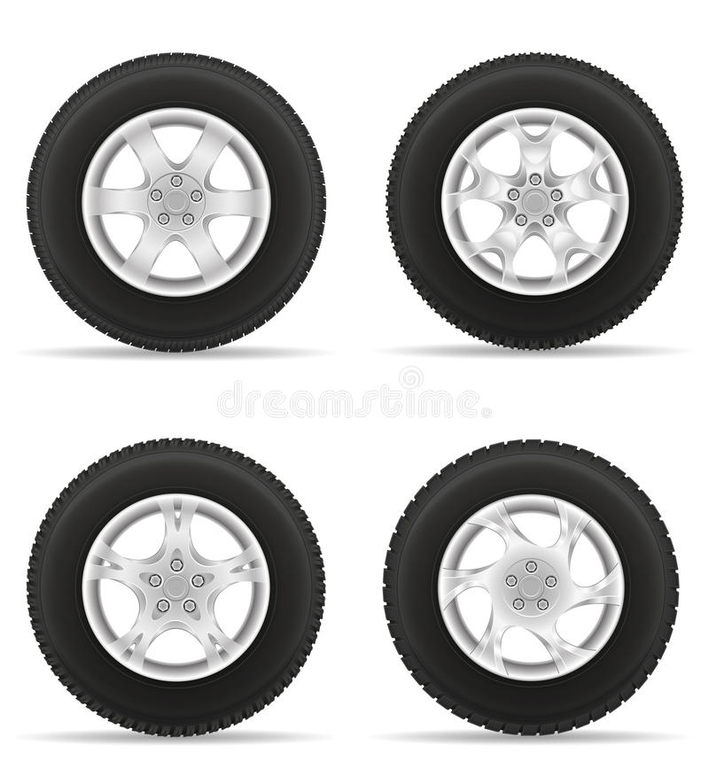 Set icons car wheel tire from the disk vector illustration royalty free illustration