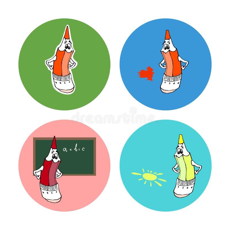 Set of icons with cartoon pencil. stock photos