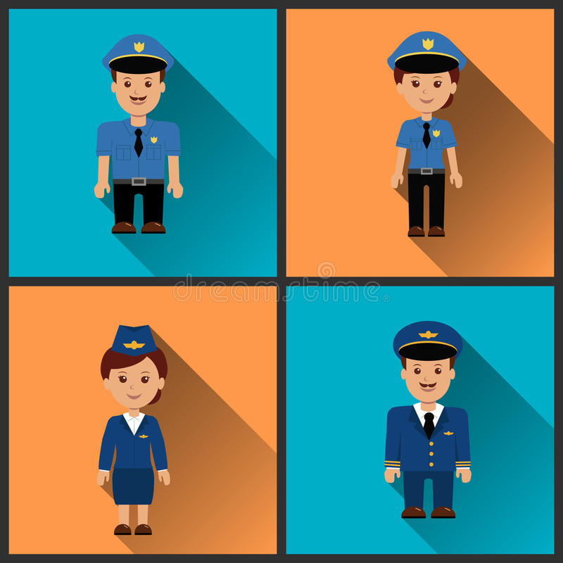 Set icons characters. stock illustration