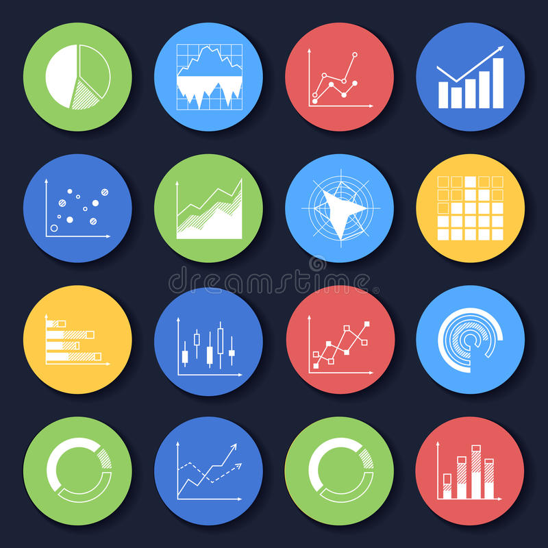 Set of icons. Charts bar diagrams graphs icons set in flat style on color circles vector illustration royalty free illustration