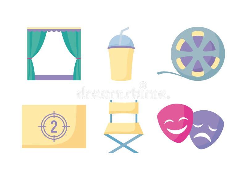 Set icons of cinema movie film vector illustration
