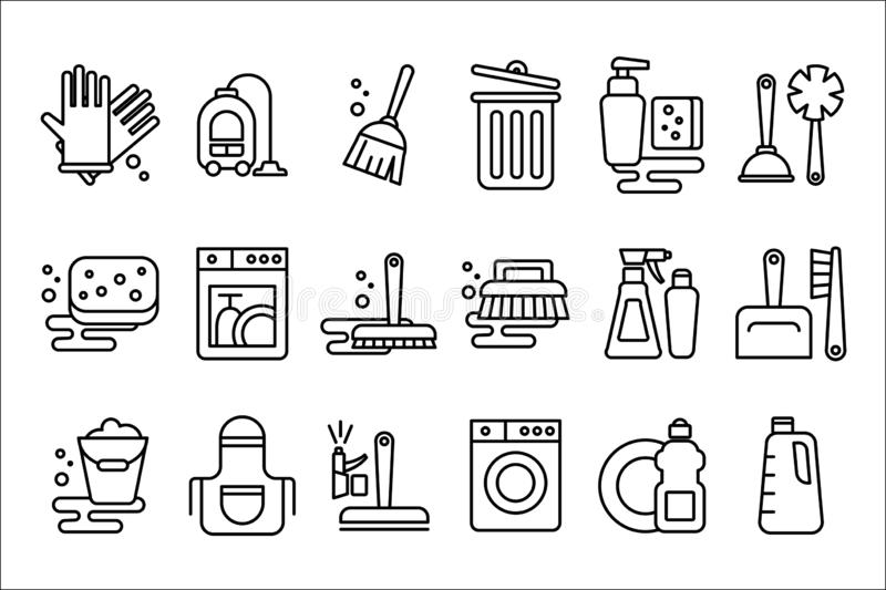 Vector set of linear icons on cleaning theme. Objects for housekeeping gloves, broom, hoover, mop and bucket. Elements. Set of icons on cleaning theme. Objects vector illustration