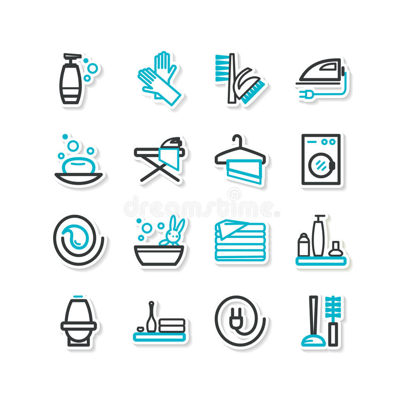 Set of icons - a cleaning stock illustration