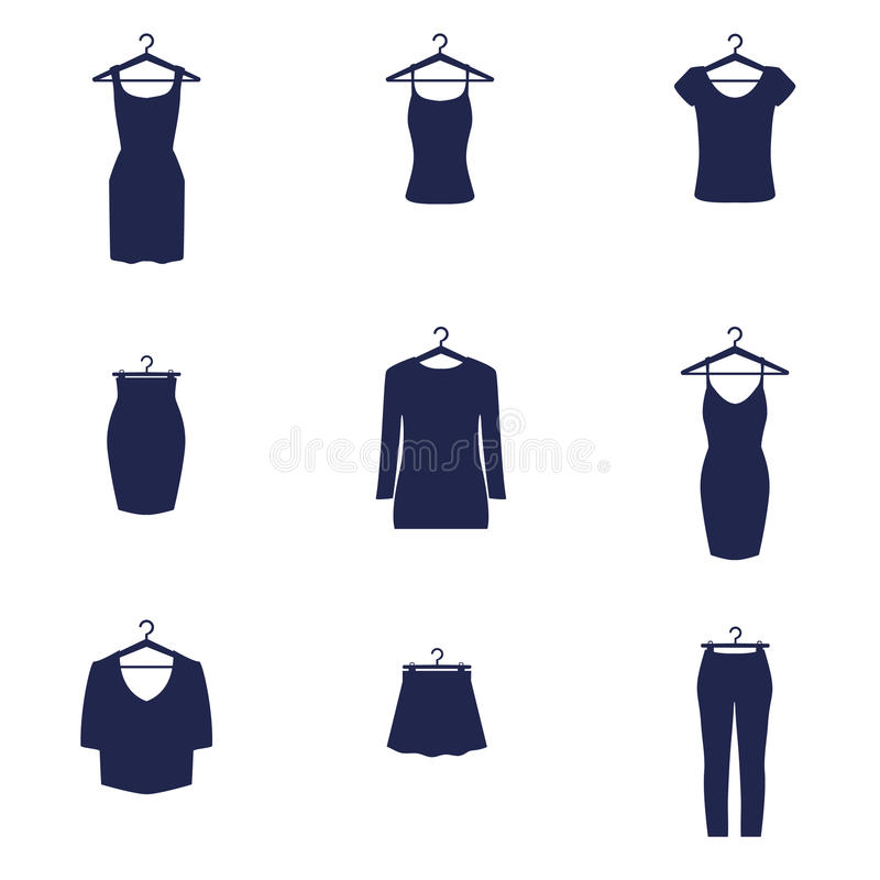 Set of icons of clothes stock photos