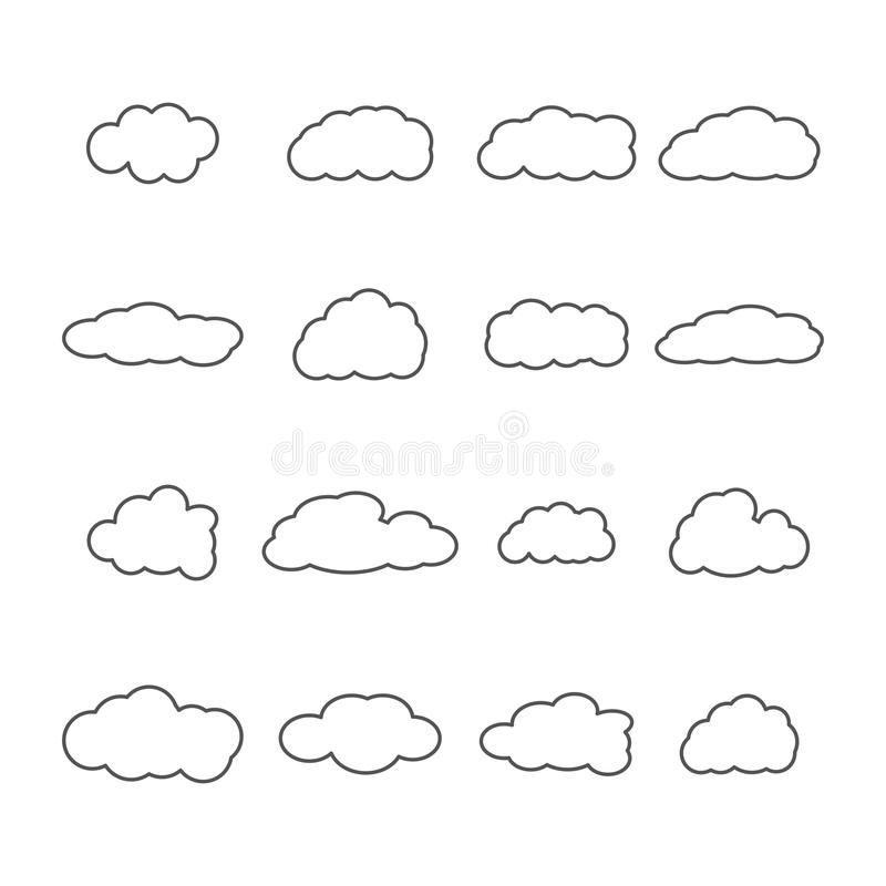 Set of icons of clouds, vector illustration. stock illustration