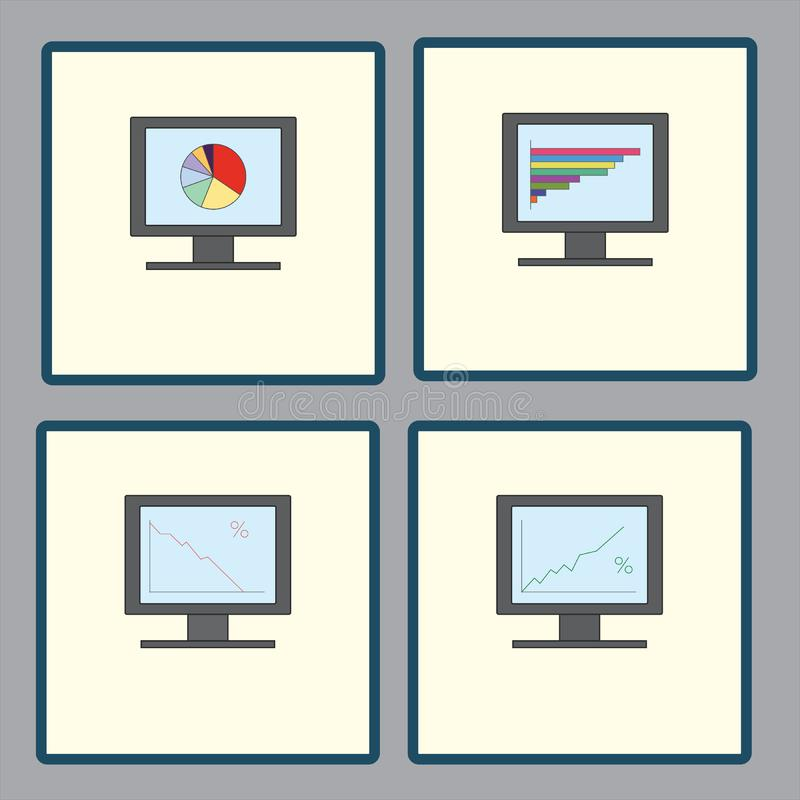 Set of icons with computer monitors with analytical graphs charts for report, business reporting stock illustration