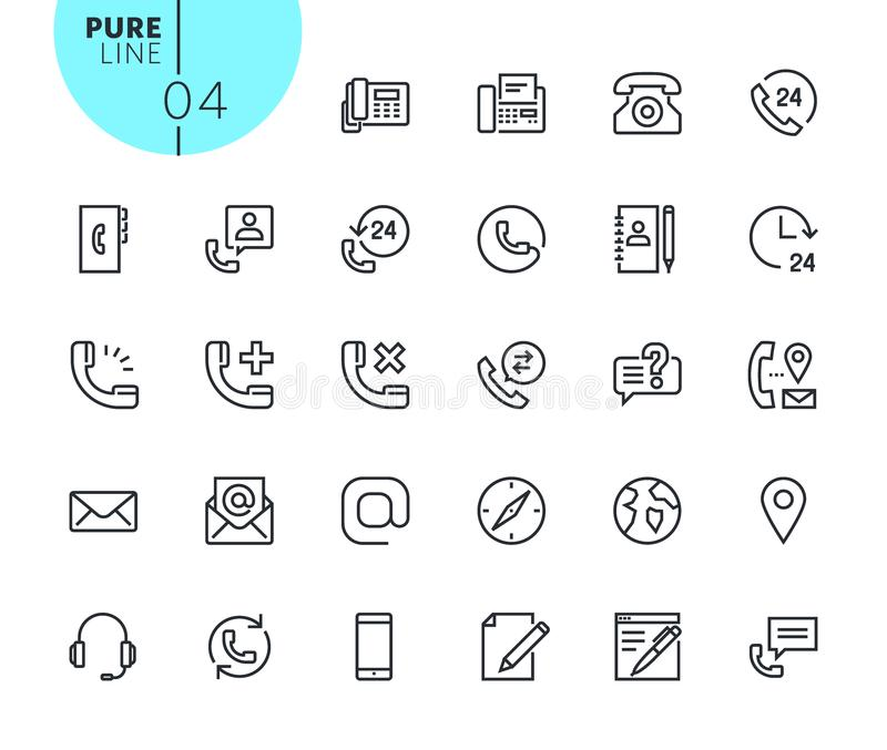 Set of icons for contact, support and location royalty free illustration