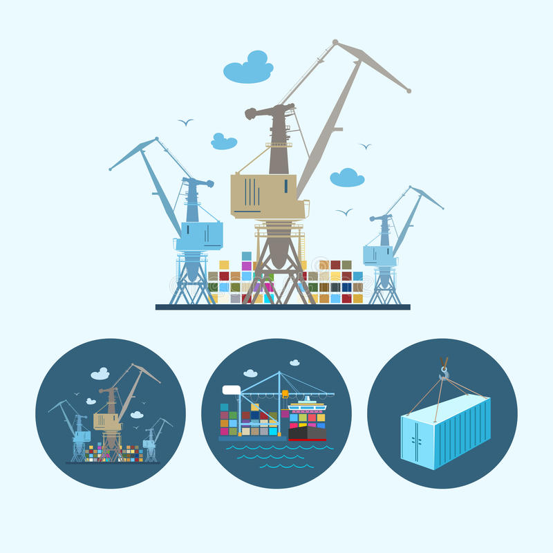 Set icons with container, the cranes with containers in dock, vector illustration. Cranes with container in dock. Set with 3 round colorful icons, cranes with stock illustration