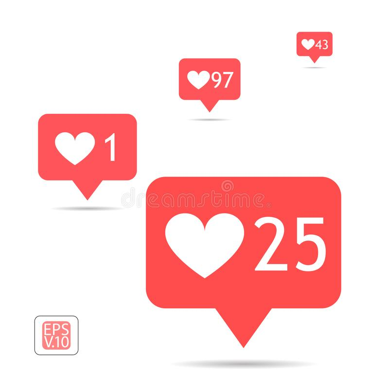A set of icons counter notifications instagram. Follower. Icon set like 1, 25, 43, 97 insta symbol isolated on white. Social media. Likes insta ui, app, iphone vector illustration
