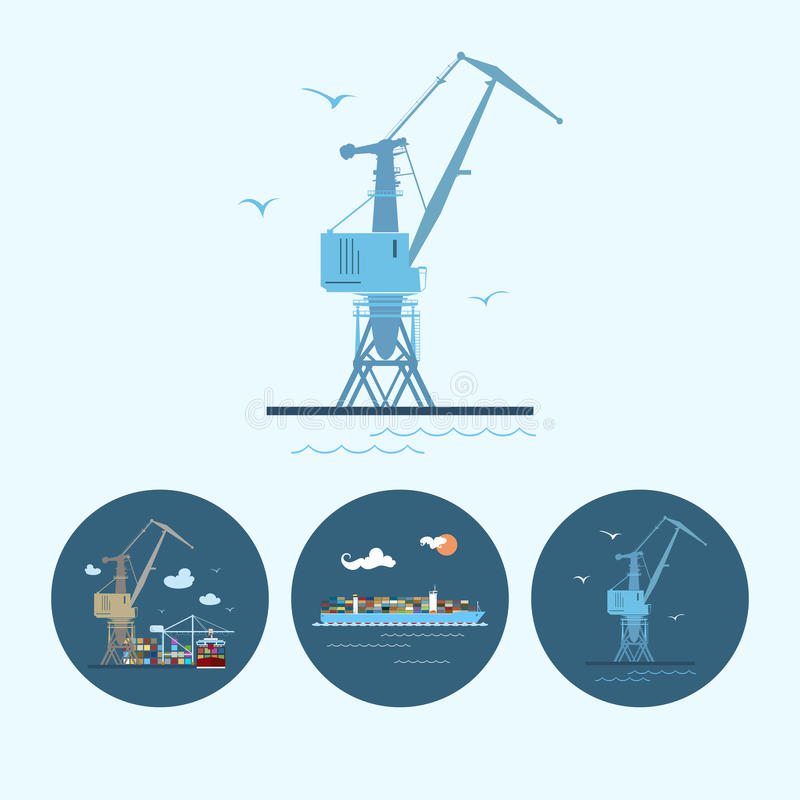 Set icons with crane, cargo containership , the crane with containers in dock, vector illustration. Crane in dock. Set with 3 round colorful icons, multicoloured royalty free illustration