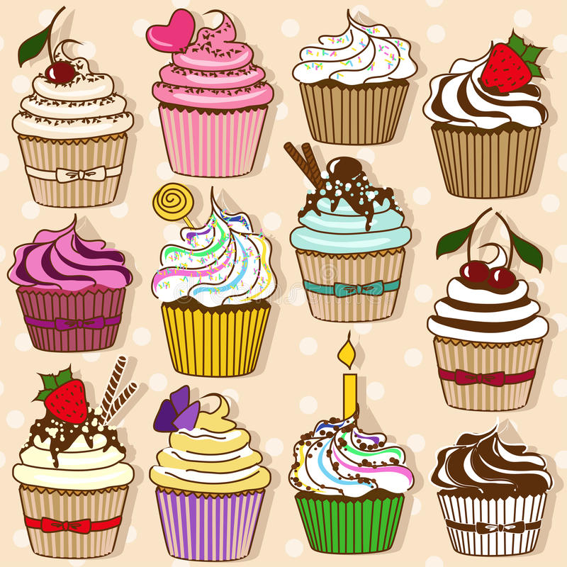 Set Of  Icons Of Cupcakes Stock Photos