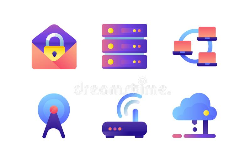 Set icons with database, wi-fi modem, web, mail, network, laptop. Concept collection modern symbols for internet, technology. Pixel perfect. Vector royalty free illustration