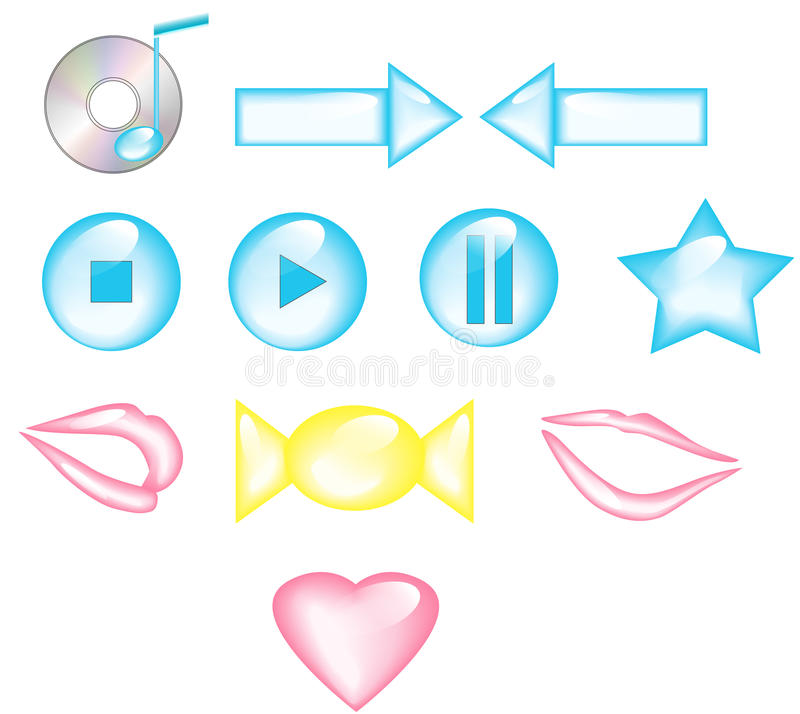 Download Set of icons stock vector. Image of interface, right - 32255358