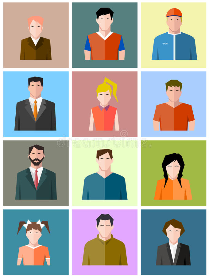 Set of icons of different people stock illustration