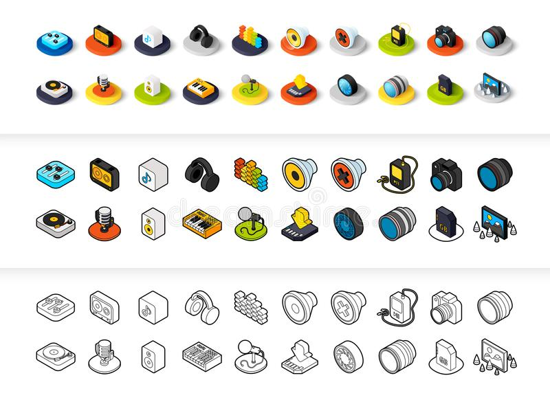 Set of icons in different style - isometric flat and otline, colored and black versions. Vector symbols - Photo music and device collection stock illustration