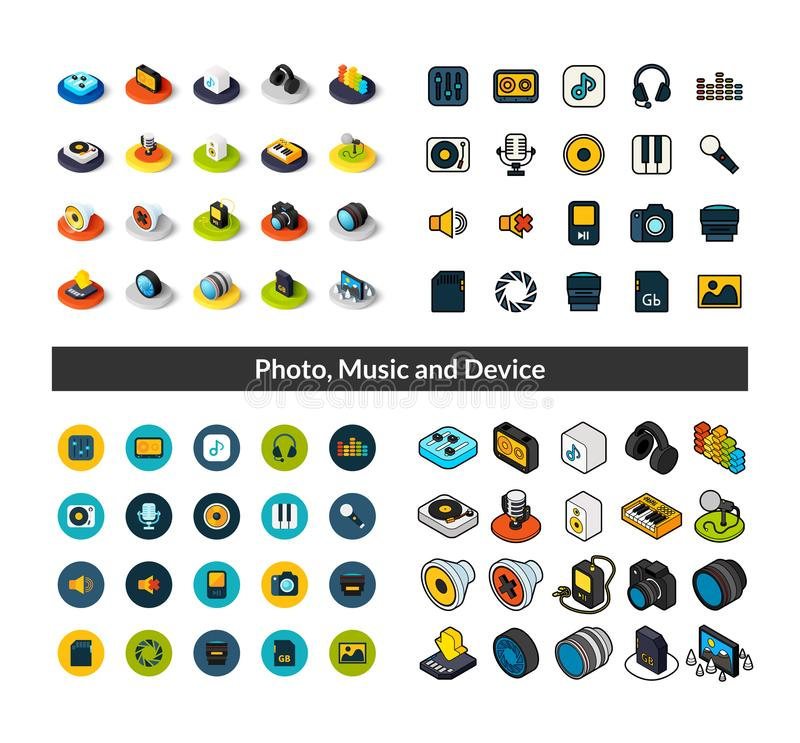 Set of icons in different style - isometric flat and otline, colored and black versions. Vector symbols - Photo music and device collection royalty free illustration
