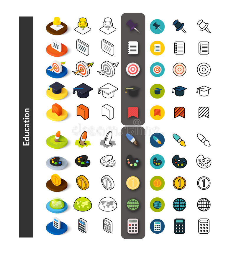 Set of icons in different style - isometric flat and otline, colored and black versions royalty free illustration