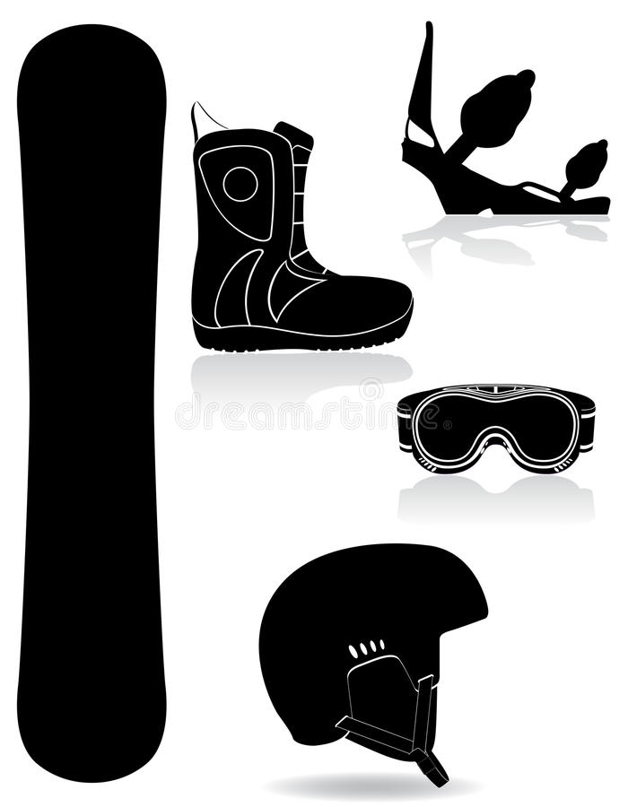 Download Set Icons Equipment For Snowboarding Black Silhoue Stock Vector - Image: 34388823