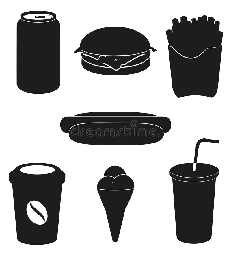 Set icons of fast food black silhouette royalty free illustration