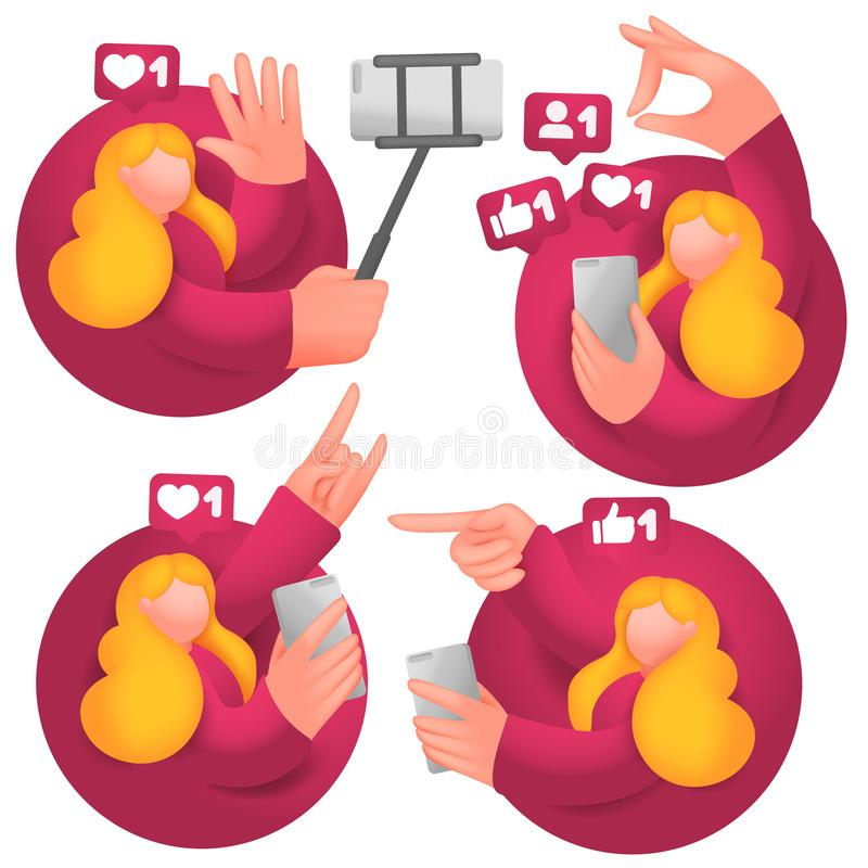 Set of icons with female cartoon 3d characters, having online communication with mobile phones in social network. Vector collection vector illustration
