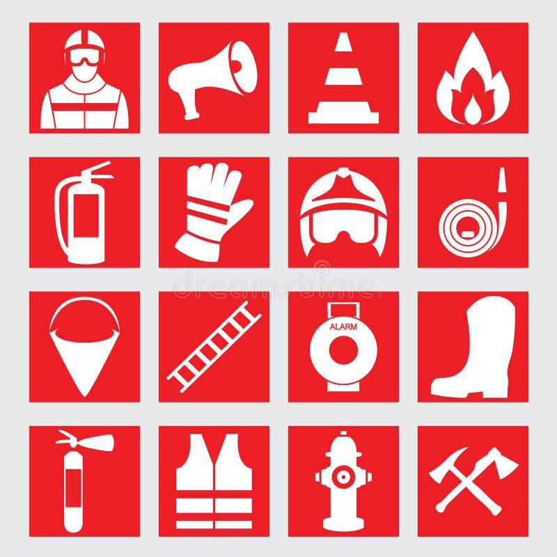 Set icons of firefighting equipment illustration. Vector set icons of firefighting equipment illustration royalty free illustration