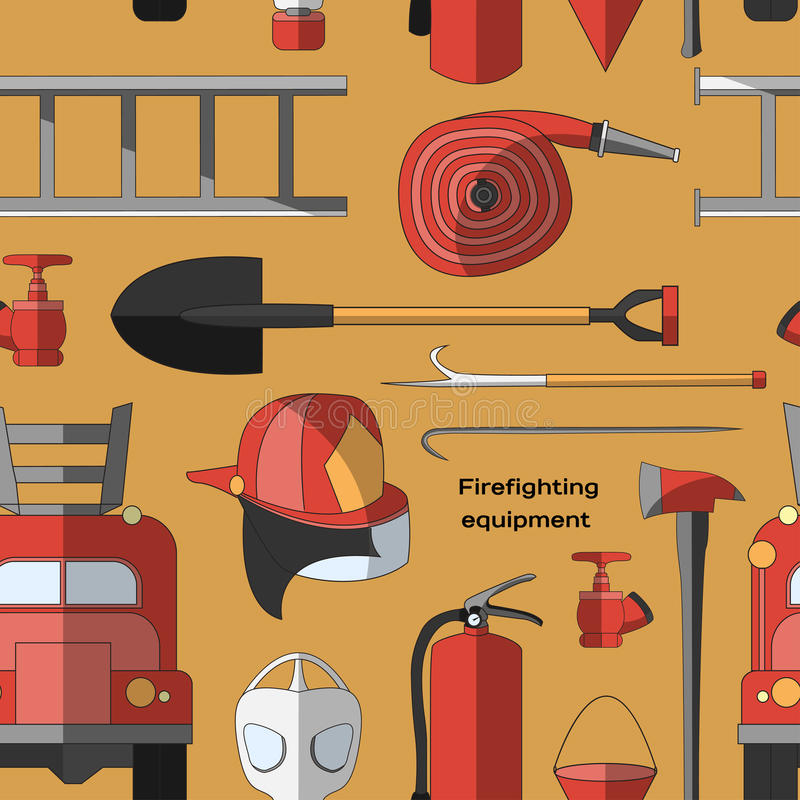 Set icons of firefighting equipment pattern royalty free illustration