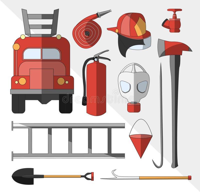 Set icons of firefighting equipment. Vector illustration on white background vector illustration