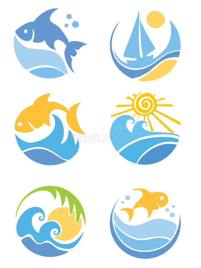 A set of icons - of fish and sea stock illustration