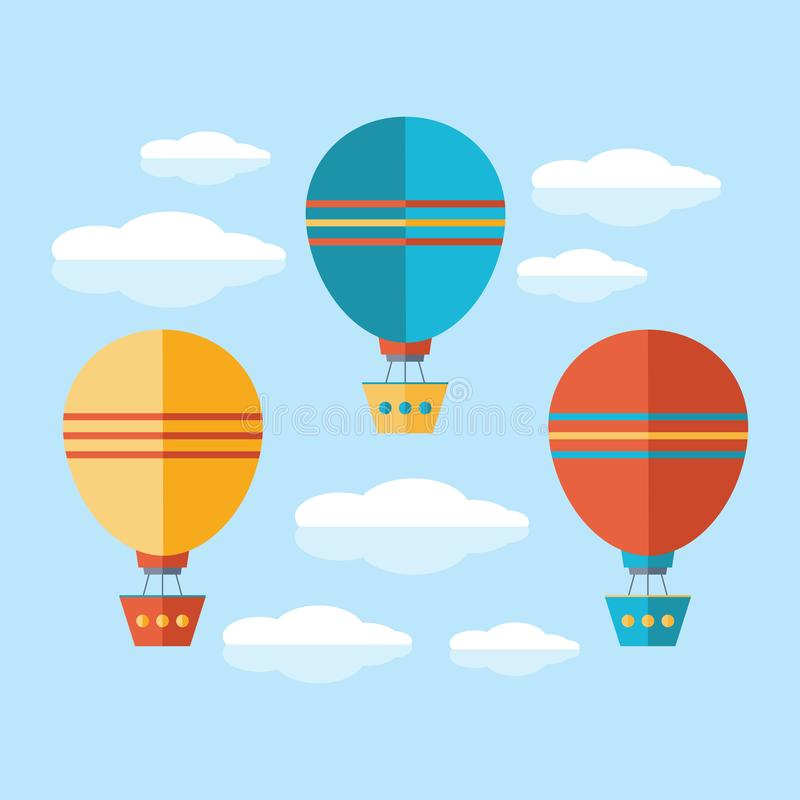 A set of icons in a flat vector. Yellow, blue and red air balloon, aerostat flying in the sky among the clouds. Travel by air royalty free illustration