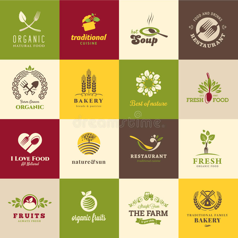 Set of icons for food and drink. Restaurants and organic products