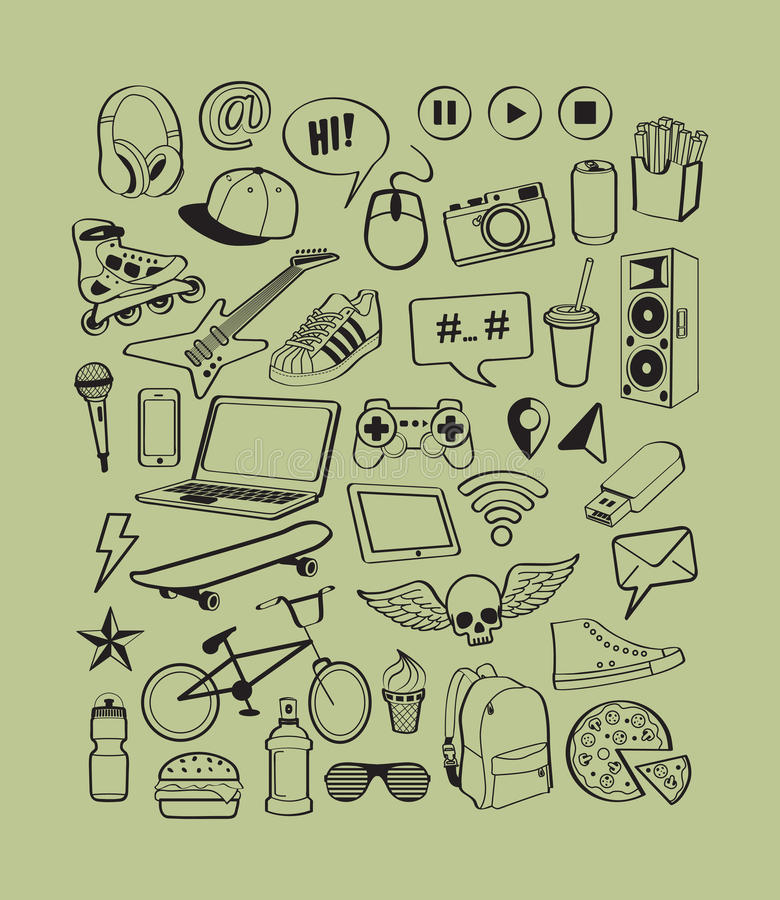 Free Set Icons For Teenage Boy. Teenagers Having Fun. Boy Teens Life. Doodles Elements For Design Thinking Idea Backgrounds. Stock Image - 69154321