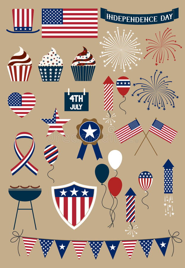 Set of icons forth of july. Set of design elements for american independence day, forth of july stock illustration