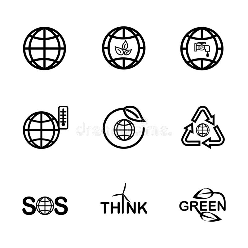 Set icons of the globe and earth related outline stock photo